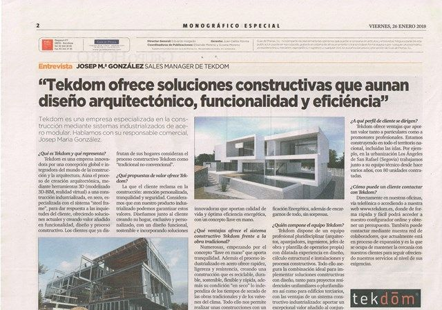 TEKDOM in the supplement TENDENCIAS de La Vanguardia